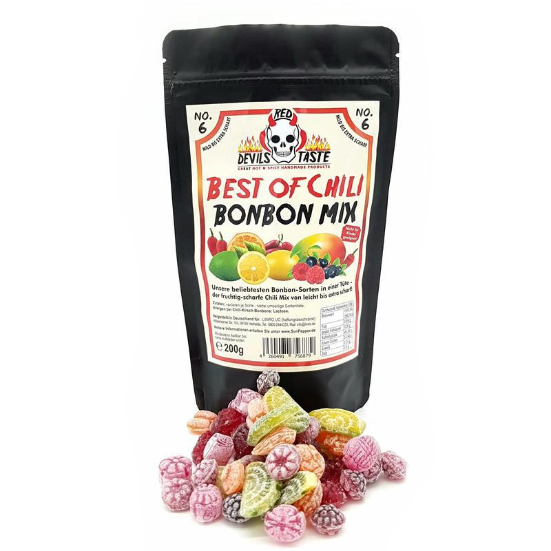 Bonbon MIX Der fruchtige Scharfe Mix - von mild zu xtra scharf - 200g - Hotskala: X - RED DEVILS TAS