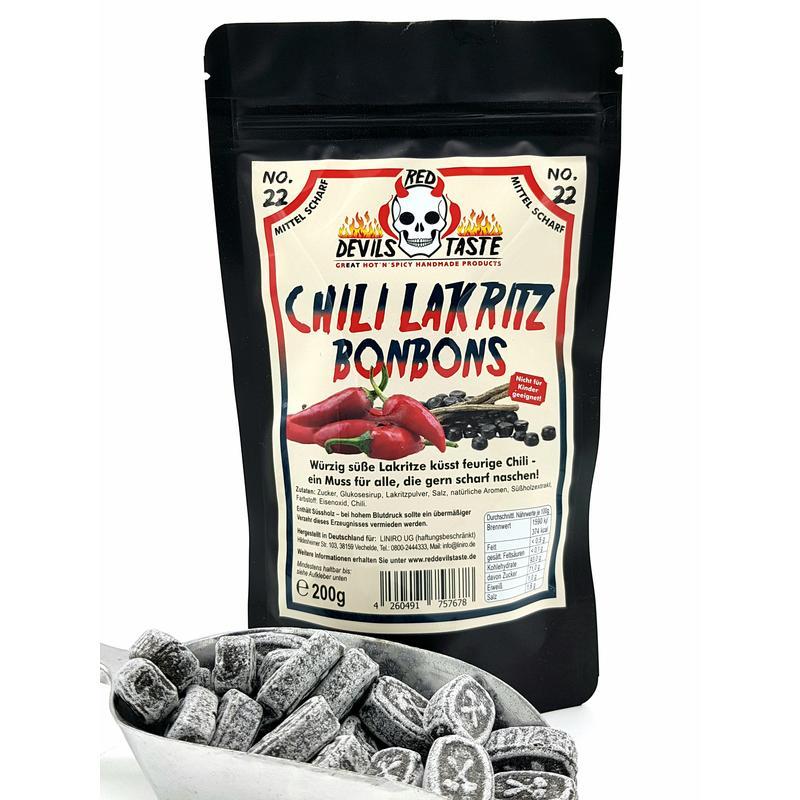 Lakritz Bonbon mit Chili - mittel scharf - Hotskala: 3 - RED DEVILS TASTE